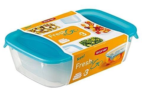 Curver 207754 Fresh'n Go Boîte Hermétiques Rectangulaire Plastique Transparent/Bleu 0,5/1/2 L Lot de
