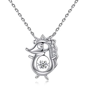 925 Sterling Silver Necklace Hedgehog Animal Pendant 18K White Gold 5A Cubic Zirconia Ladies Fine Jewellery Accessories for Birthday Anniversary Presents for Women Girls with Gift Box-HON06 Silver