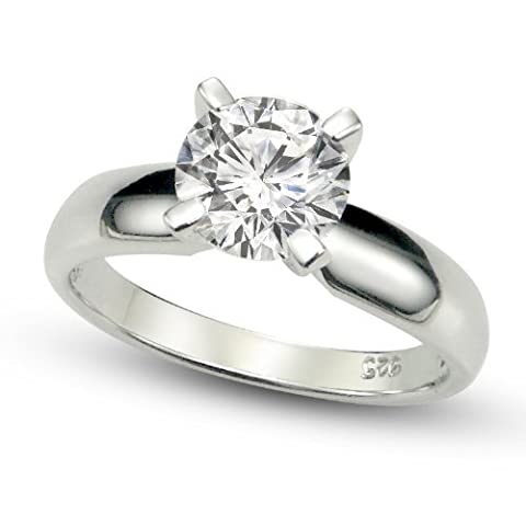 Sterling Silver Cubic Zirconia Solitaire 1.25 Carat tw Round Cut