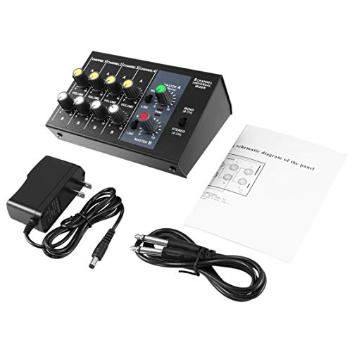 Kaemma 8-Kanal-Digitalmischpult Karaoke-Universalmischpult Mono/Stereo-Mikrofon-Mischpult-Einstellpult (Farbe: Schwarz)