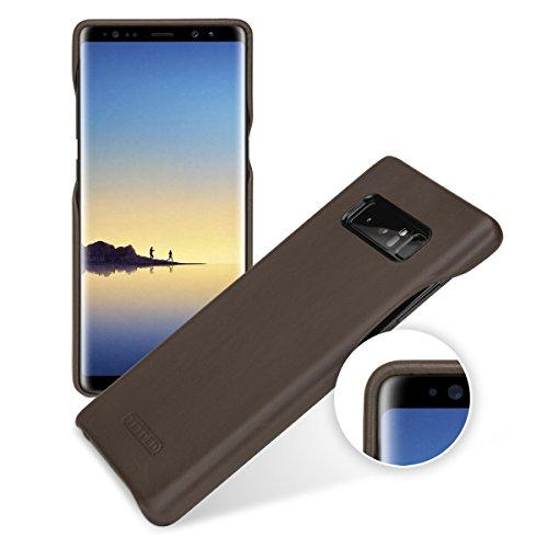 Tetded Premium Echt Leder Schutzhülle für Samsung Galaxy Note 8, Snap Cover mit Leder Voll Verpackt, S} Caen, Prestige Dark Brown -