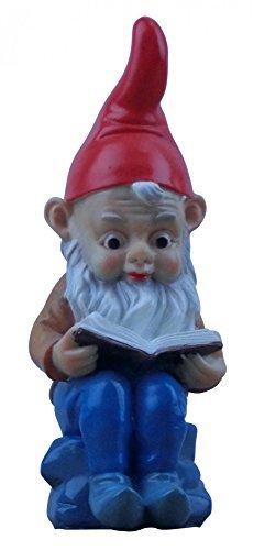 Gartenzwerg mit Buch 'Lese-Zwerg' aus witterungsfestem Material, Höhe: 22 cm
