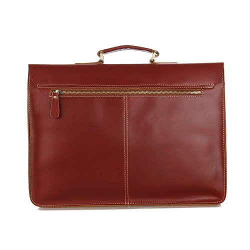 High Quality Handmade Bags Herren-Aktentasche / Laptoptasche / Umhängetasche, Leder, handgemacht, Farbe Dark Coffee, 39 x 7,6 x 29 cm rotbraun