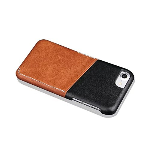 iPhone 8 Plus Hülle, Fraelc iPhone 7 Plus Ultra Hybrid Schutzhülle Hart Plastic Back Cover mit Leder Rückseite Kartenfächer Tasche Case für Apple iPhone 8 Plus / 7 Plus 5,5 Zoll in Braun Grau