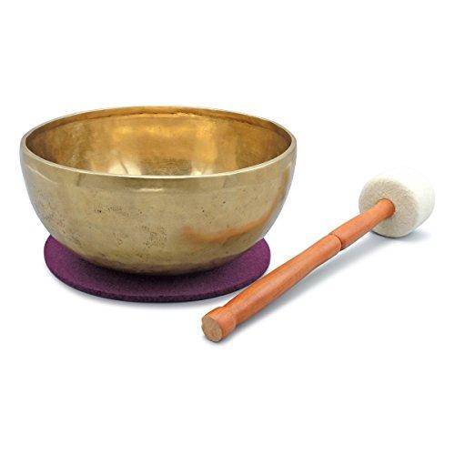 Tibetische Klangschale, Handarbeit, für Klangmassagen, Yoga, Meditation und Entspannung, Beckenschale, inkl. beerenfarbenem Filzpad sowie Filzklöppel - 2026-L