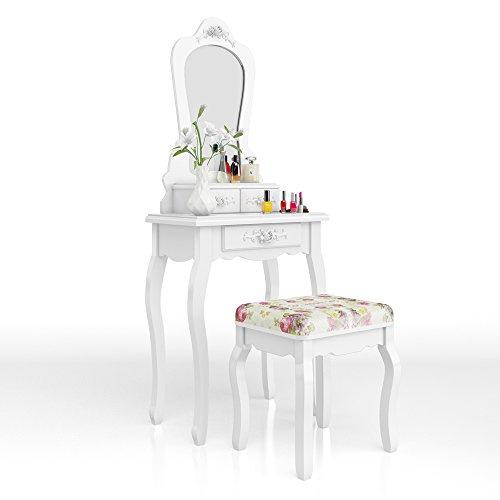 Vicco Schminktisch Princess Rose in Weiß mit Hocker und Lichterkette - Kosmetiktisch Spiegel...