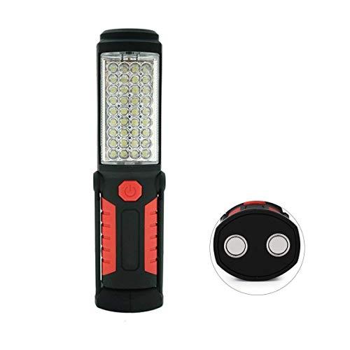 36 + 5 LED-Taschenlampe-Inspektionslampe, shsyue Torch Camping Licht Freihand-Garagenarbeitslicht-Taschenlampe mit Magnetfuß und Aufhängehaken für Auto, der Notfall repariert (rot) -