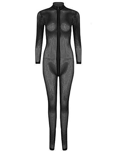 Sheer Spandex Kostüm - Freebily Damen Body Transparent Jumpsuit Overall