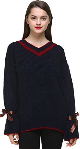 Vogueearth Fashion Femmes Ladies Speaker Manche V-Neck Knit Jumper Sweater Chandail Tricots Pullover Top Foncé Bleu