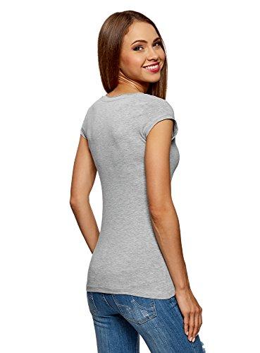 oodji Ultra Damen T-Shirt Basic (3er-Pack) Grau (2000M)