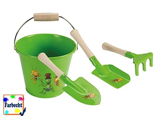 Sandspielzeug Eimer und 3er-Set kleine Schaufel und Harke Gartenspielzeug für Kinder, -DIE BIENE MAJA-