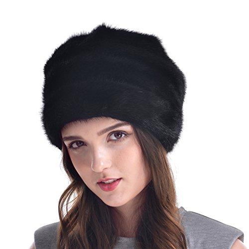 OLLEBOBO Femme de Chapeau couleur pure Tricotés en vraie Fourrure de vison Noir