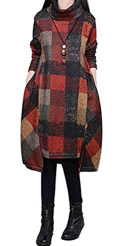Ammy Fashion, Damen-Kleid mit Rollkragen, unregelmäßig kariert, aus Jersey Grau