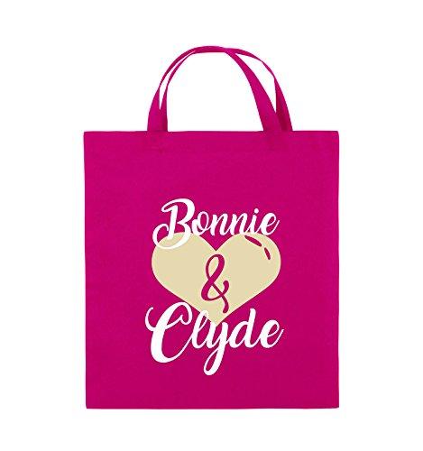 Comedy Bags - Bonnie & Clyde - HERZ MOTIV - Jutebeutel - kurze Henkel - 38x42cm - Farbe: Schwarz / Weiss-Neongrün Pink / Rosa-Weiss-Beige