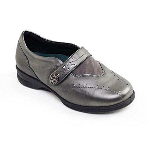 Padders Plus-Damen der Frauen Schuhe - Kirsten 2 - Oberleder - Extra Wide 4E / 6E Dual-Width Montag mit 2 Einlegesohlen - Gun Metal Farbe - Größe 39 EU -