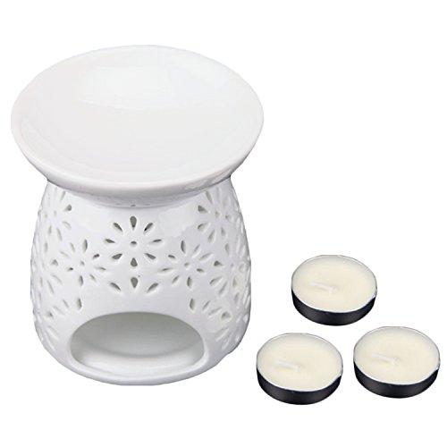 Vintage Keramik Aushöhlen Duft Duft Duftlampen mit Kerze für Schlafzimmer Home Office Wohnzimmer Restaurant Hotel (Wärmer Duftlampe)