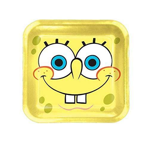 Procos 2350-Spongebob Teller Papier Quadrate, 8-teilig, gelb