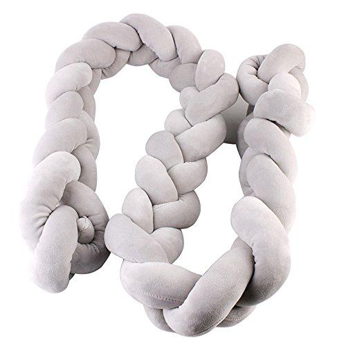 Ruimin Knoten, geflochten mit: Nestchen, geflochten/Bumper mit, Kinderzimmer Neugeborenen Geschenk Deko-Kissen, Bettwäsche, grau, 2 m