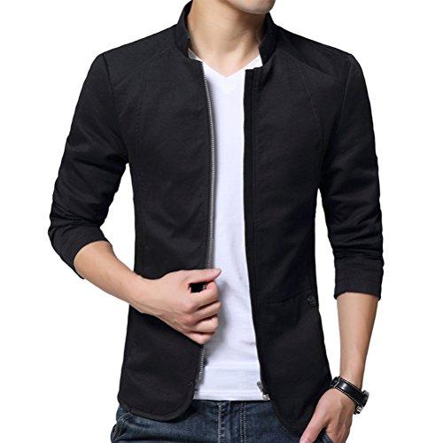 Brinny Herren Jungen Langarm Jacke Stehkragen Trenchcoat Mantel Einreihig Jack Anzug, schwarz, EU XS (Asia L)