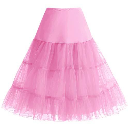 a 50s Vintage Rockabilly Petticoat Underskirt Pink S ()