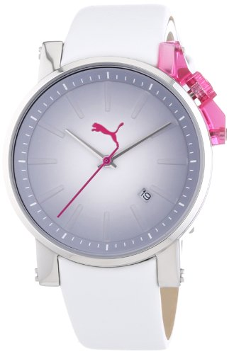 Puma Time Women's Quartz Watch Flag- S Silver Pink PU102632001 with Leather Strap