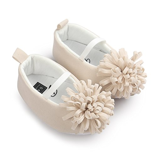Baby Girl First Walker Princess Flower Soft Soled Anti-Slip Crib Mary Jane Shoes Point Toe Beige