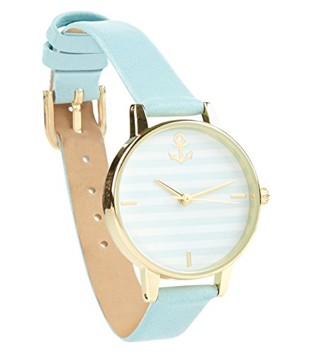 new-look-nau-stripe-womens-quartz-watch-with-multicolour-dial-analogue-display-and-blue-imitation-le