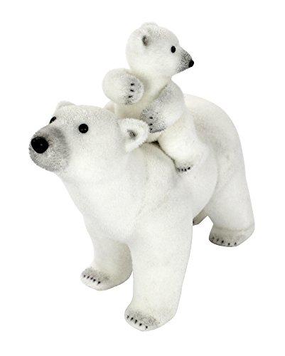 Deko Eisbär mit sitzendem Baby auf dem Rücken (Eisbären Outfits)
