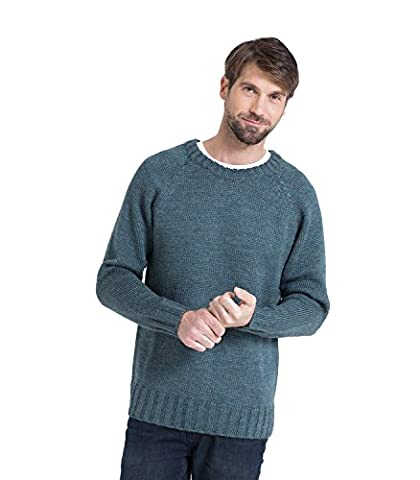 WoolOvers Mens Pure Wool Fishermans Crew Neck Knitted Jumper Kiltimagh, L