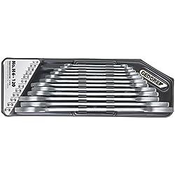 GEDORE H 6-120 Doppelmaulschlüssel-Satz, Ausführung nach DIN 3110, hochwertige Industriequalität, Köpfe feingeschliffen, Blendfrei-Optik durch mattes Verchromen, im Halter 12-teilig, 6-32 mm