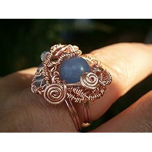 Ring blau handmade roségold verstellbar mit Achat hellblau in wirework vergoldet Drahtschmuck als Geschenk im Etui