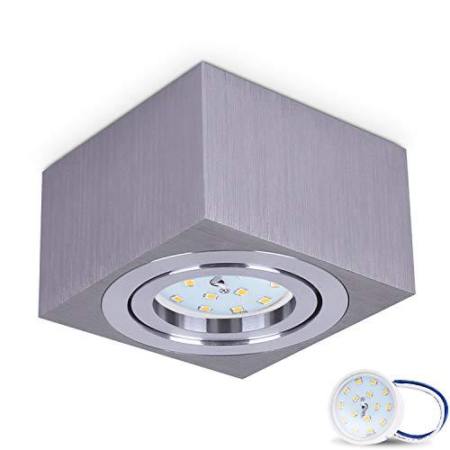 JVS Aufbauleuchte Aufbaustrahler Deckenleuchte Aufputz MILANO SMALL 5W LED Modul extra-flach Warmweiss 230V IP20 eckig silber schwenkbar Strahler Deckenlampe Aufbau-lampe Downlight aus Aluminium