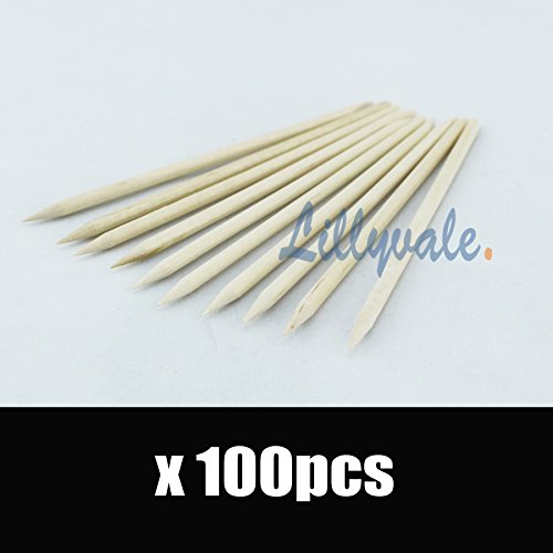 100Pcs Nail Art Orange Wood Sticks Cuticle Pusher Remover Pedicure Manicure Tool by Lillyvale