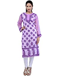 BDS Chikan Hand Embroidered Lucknow Chikankari Purple Colour Georgette Kurti For Women - BDS00827