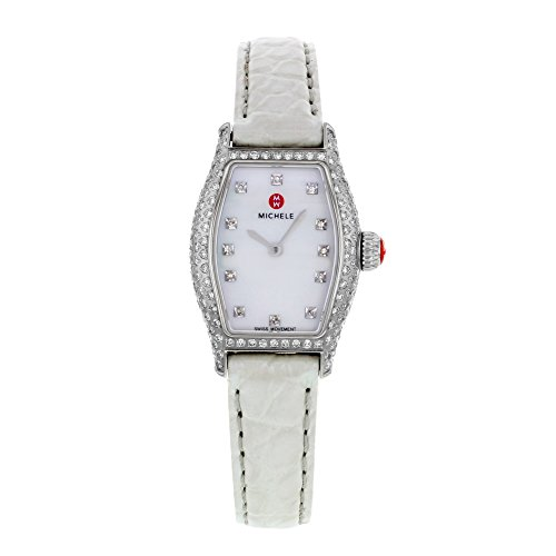 Michele urbano Coquette Pav Diamond, diamante quadrante argento Alligator
