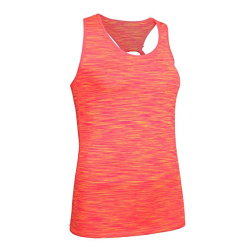 Hibote Femmes Fitness en cours d'exécution Stretch T Shirt Sports Maillots Orange