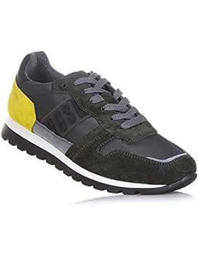 BIKKEMBERGS - Zapato gris de cordones, de ante y tejido impermeable, inserto trasero Amarillo de ante, Niño, Niños