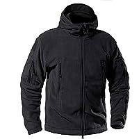Men 's Windproof Warm Outdoor Jacket Insulated Military Tactical Fleece Jacket with Hood,Black,X-Large