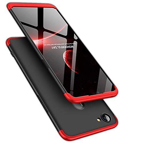 TheGiftKart Full Body 3-In-1 Slim Fit Complete 3D 360 Degree Protection Hybrid Hard Bumper Back Case Cover For Oppo F7 (Black & Red)