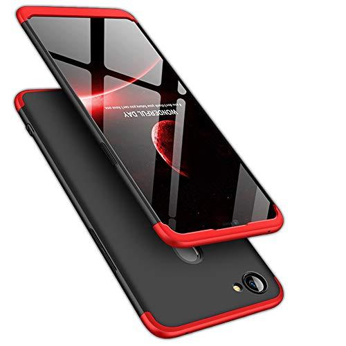 TheGiftKart Full Body 3-In-1 Slim Fit Complete 3D 360 Degree Protection Hybrid Hard Bumper Back Case Cover For Oppo F7 (Black & Red)