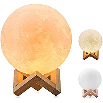 Soriace® 3D Printing Moon Lamp, 13CM Rechargeable Bedroom
