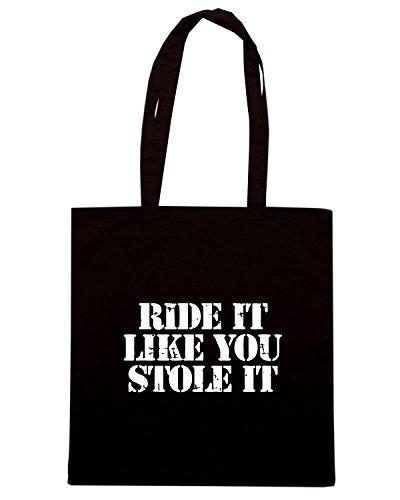 T-Shirtshock - Borsa Shopping TB0449 Motard Ride It Like You Stole it Nero