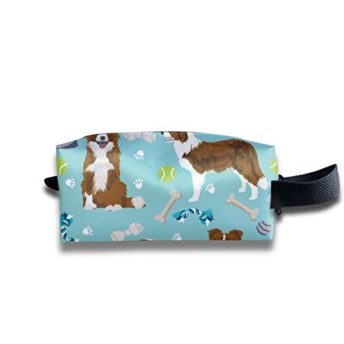 (Border Collie Red Dog Spielzeug Cute Dog Themen Stoff Aqua_518 Tragbare Reise Make-up Kosmetiktaschen Organizer Multifunktions Fall Taschen für Unisex)