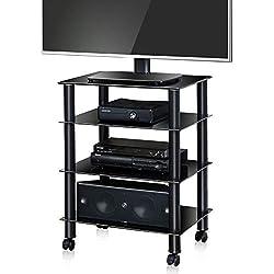 FITUEYES Meuble TV avec Roulette Tablette Support pour HiFi Boitier TV Lecteur DVD Enceinte Cinéma avec 4 Etagères en Verre Trempé Noir AS406005GB