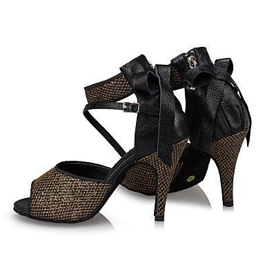 Scarpe da ballo-Personalizzabile-Da donna-Balli latino-americani / Jazz / Sneakers da danza moderna / Moderno-Quadrato-Finta pelle-Nero Black