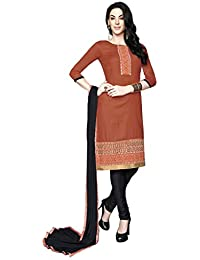 LAVIS Women's Cotton Dress Material (Ranisak106_Free Size_Brown)