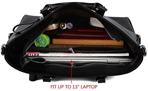 Yaluxe Donna pelle Laptop Lavoro Borse a spalla Shopping Borse a tracolla Nero