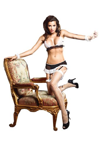 Baci Women's Do Not Disturb French Maid Set, Black/White, Medium/Large