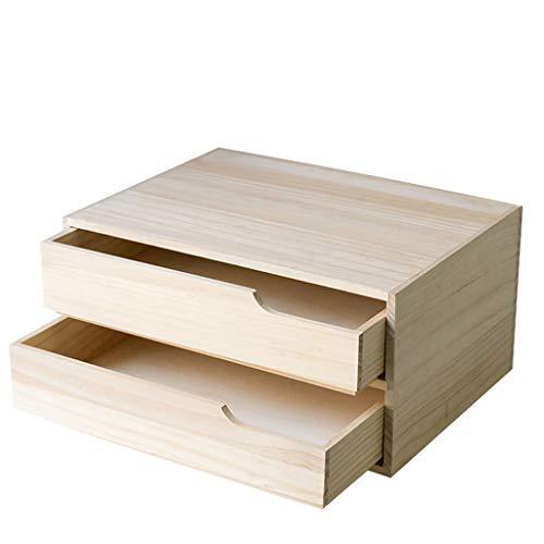 BingWS Standregal Bücherregal 2-Tier-Desktop Schublade Aufbewahrungsbox Office-Datei Multifunktions Schublade Massivholz Bücherregal Bücherregal Diverses Organizer Bücherregale (Datei Schublade Bücherregal)