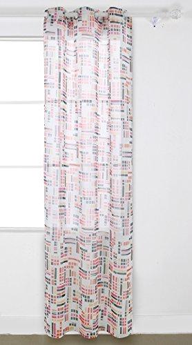 deconovo Deko Abstrakt länglich Print Muster Faux Leinen Top Tülle Sheer Fenster Vorhang für Schlafzimmer, Polyester-Mischgewebe, Pink and Yellow, 42x95 Inch -
